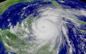 Stock photo of Hurricane Wilma. This is a GOES-12 1 km (visible imagery) NOAA satellite photograph recorded on October 20, 2005 as the category 5 hurricane passes over the Caribbean and enters the Gulf of Mexico, headed for Florida.