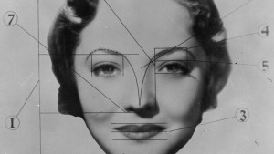 A circa 1933 portrait of American actress Sylvia Sidney (1910 - 1999), annotated to show how her face is ideally proportioned. In May 1934 Sidney's face was chosen, for its 'elliptical symmetry', as a standard for beauty, at a conference of Southern California cosmetologists, including Wally Westmore of Sydney's studio, Paramount. The 'Sidney Standard of Beauty' is intended to serve as a guide to studio make-up artists. (Photo by General Photographic Agency/Getty Images)